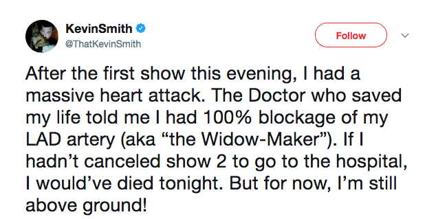O relato do ator e diretor Kevin Smith sobre o ataque cardíaco sofrido por ele (Foto: Twitter)