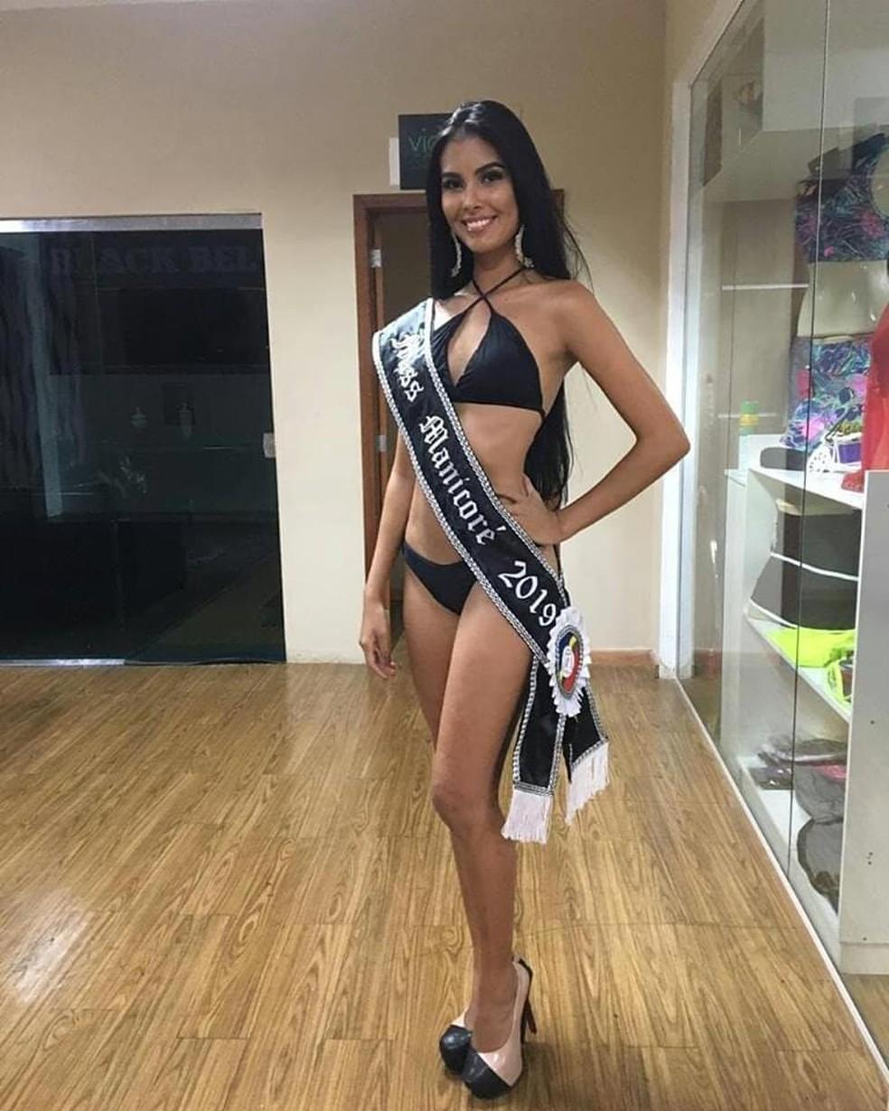 Kimberly Karen Mota de Oliveira, a atual Miss Manicoré, foi encontrada morta em Manaus. — Foto: Reprodução/Redes Sociais