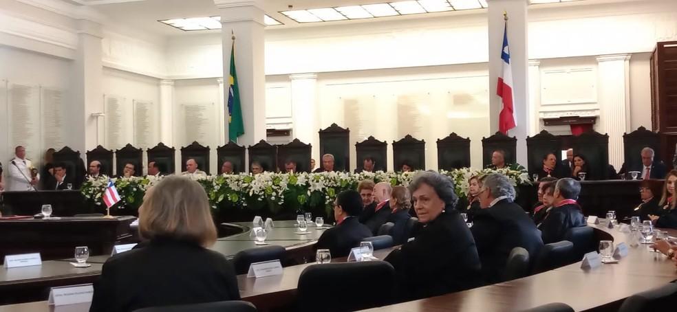 Cerimônia de posse do Tribunal de Justiça da Bahia, no Fórum Rui Barbosa, em Salvador, em fevereiro deste ano — Foto: Cid Vaz/TV Bahia