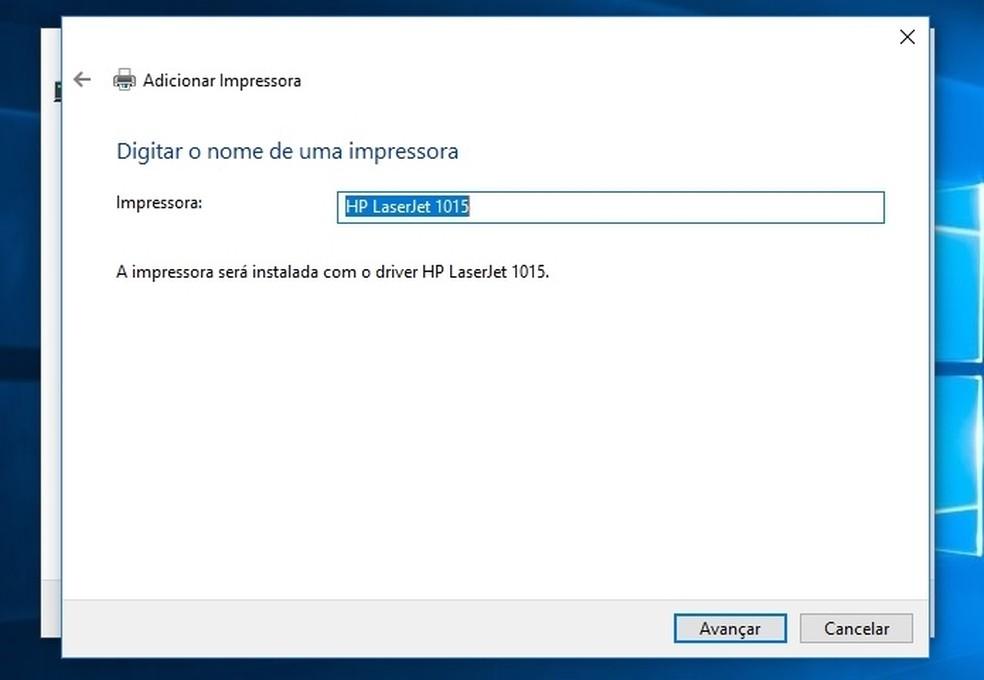 Janela para possível alteração de nome da impressora no Windows 10  (Foto: (Foto: Reprodução/Raquel Freire))
