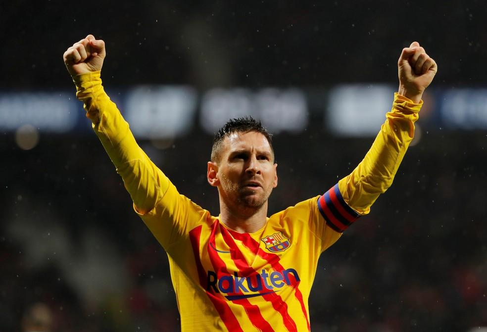 Messi garantiu a vitória do Barcelona sobre o Atlético no primeiro turno, por 1 a 0 — Foto: Susana Vera/Reuters