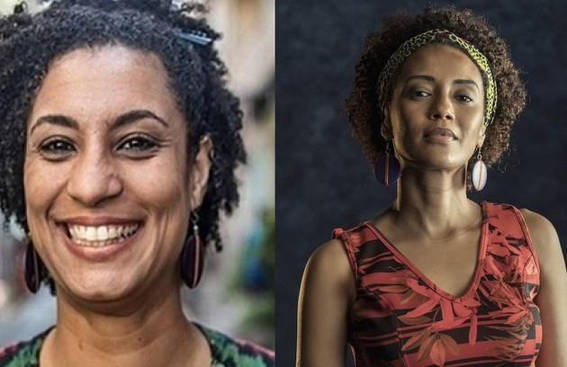 Taís Araujo como Marielle Franco, vereadora do Rio assassinada em 2018. O especial tem direção de Lázaro Ramos, (Foto: Divulgação e Globo)
