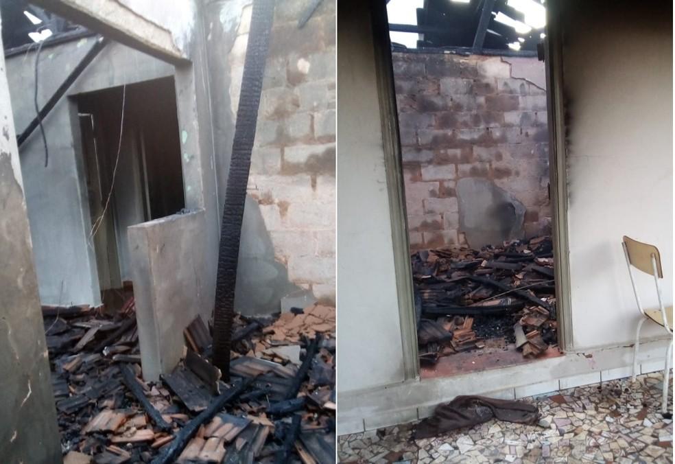 Casa ficou destruída após incêndio em Borborema — Foto: Arquivo pessoal