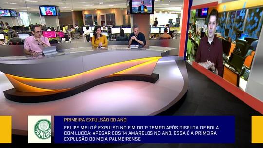 """Redação analisa seca do Palmeiras, e Caparica critica Felipe Melo: """"Entrada forte e até desleal"""""""