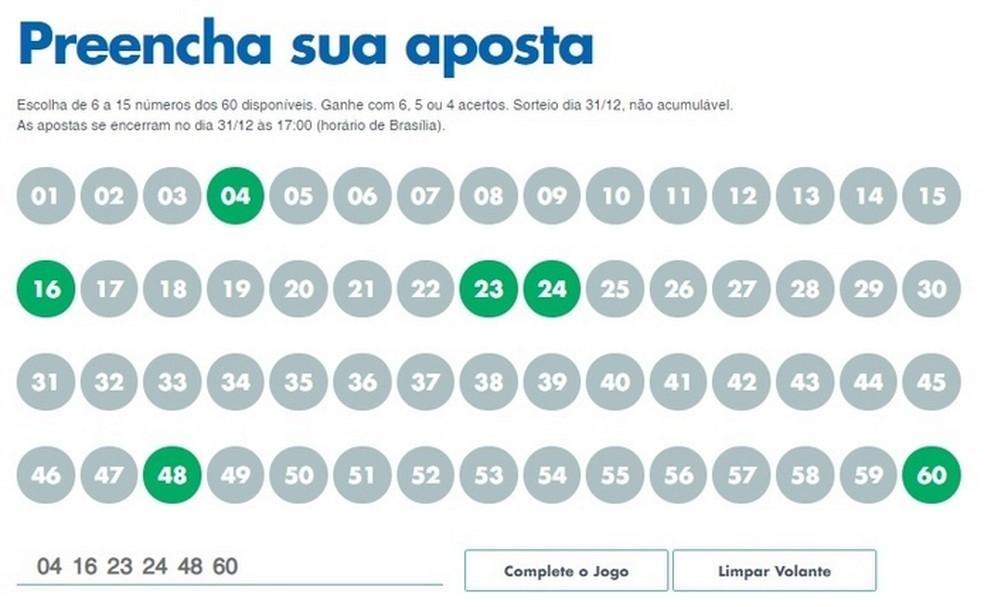 Preenchimento online de aposta de seis números na Mega da Virada, da Caixa  — Foto: Reprodução/Raquel Freire