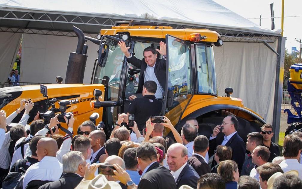 O presidente Jair Bolsonaro na Agrishow, feira de tecnologia para o campo, em Ribeirão Preto, SP — Foto: Weber Sian/ACidadeon