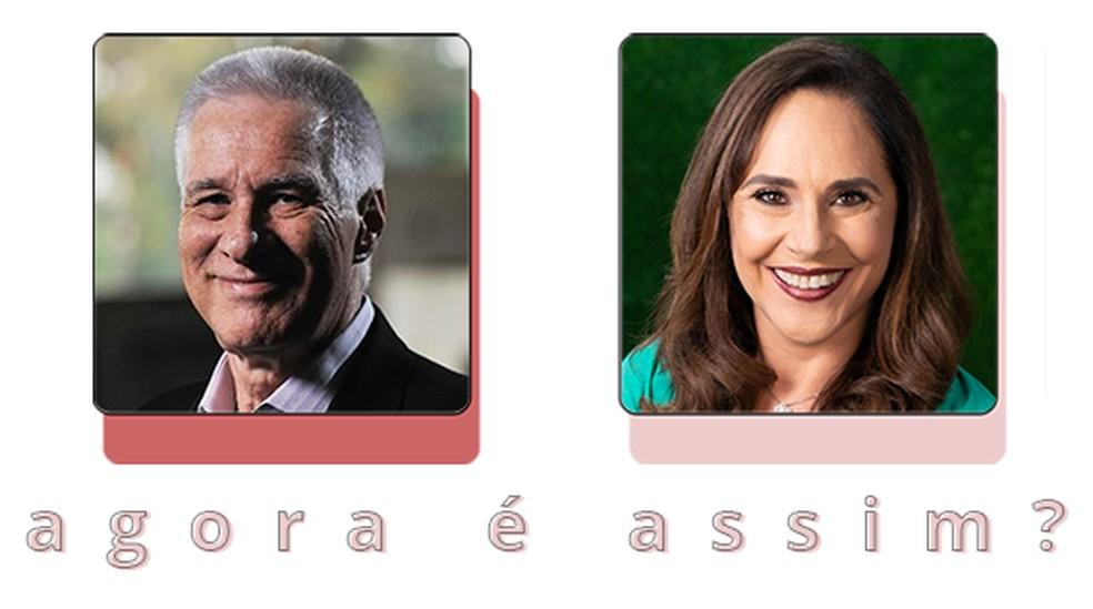 Max Gehringer e Sofia Esteves no Agora é Assim? — Foto: Editoria de Arte / G1