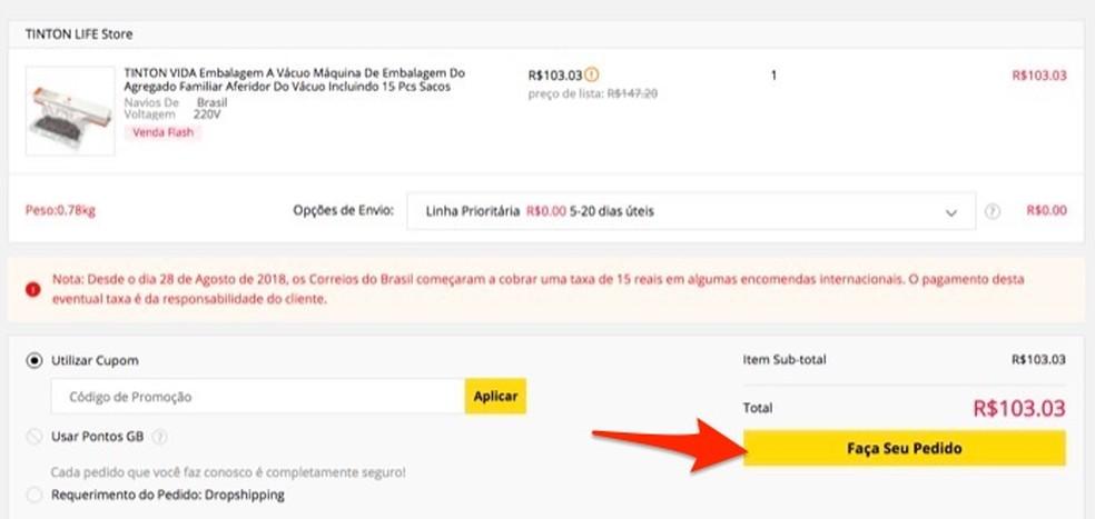 Ação para revisar um produto que será comprado pelo site Gearbest â?? Foto: Reprodução/Marvin Costa