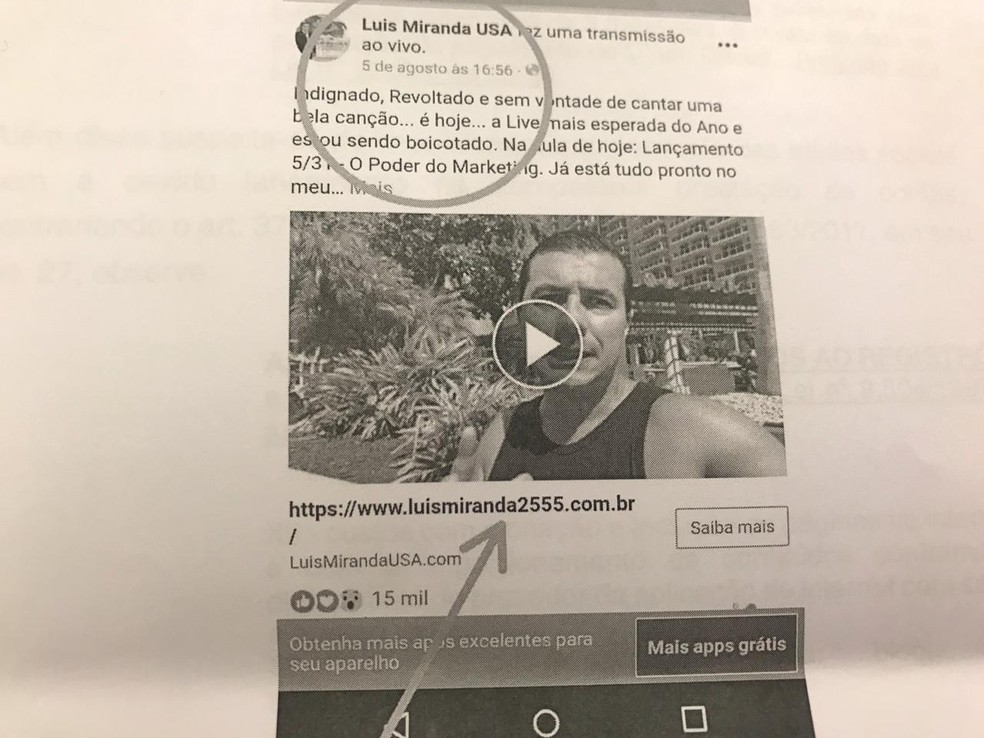 Deputado federal Luís Miranda vinculou seu número de campanha antes mesmo do início da campanha eleitoral; imagem retirada de processo sobre abuso de poder econômico — Foto: Reprodução