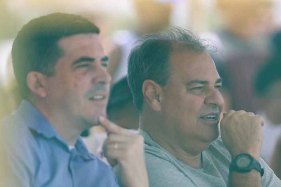 Nei Pandolfo assistiu a estreia do Santa ao lado do presidente Constantino Júnior — Foto: Marlon Costa/ Pernambuco Press