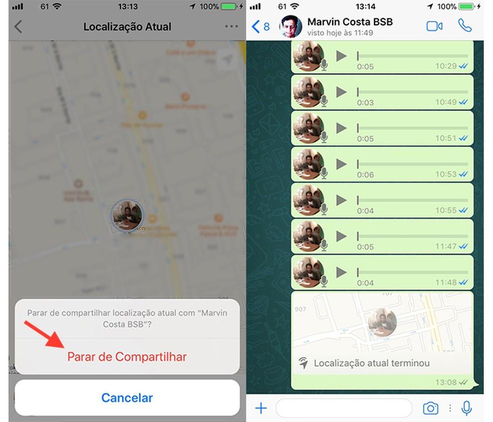 Tela que finaliza o compartilhamento em tempo real no WhatsApp (Foto: Reprodução/Marvin Costa)