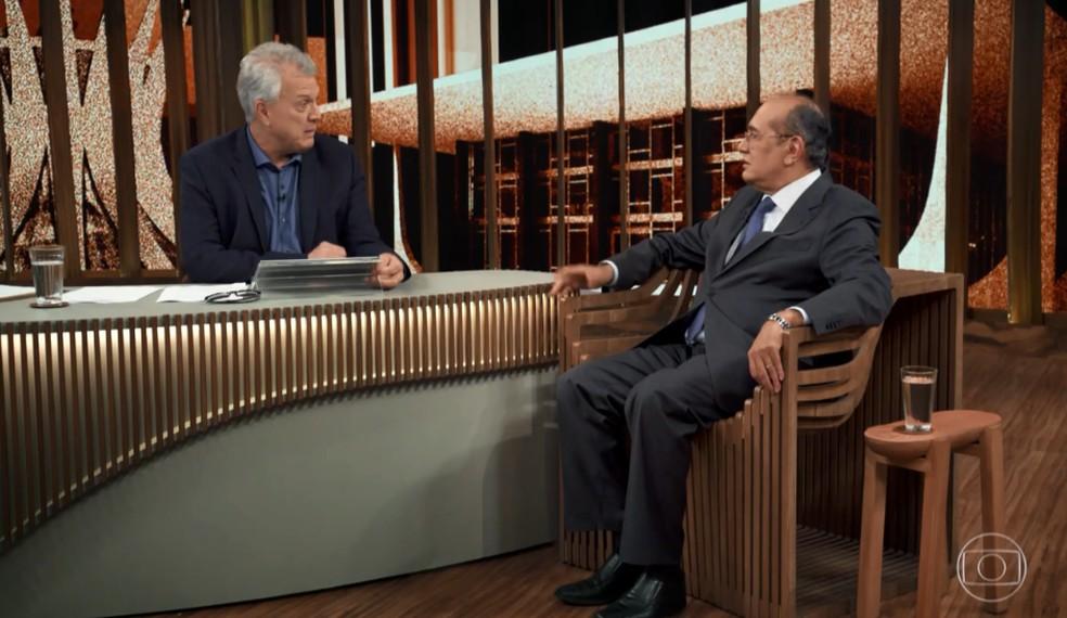 Gilmar Mendes foi o convidado do 'Conversa com Bial' e falou sobre Sérgio Moro — Foto: Reprodução/TV Globo