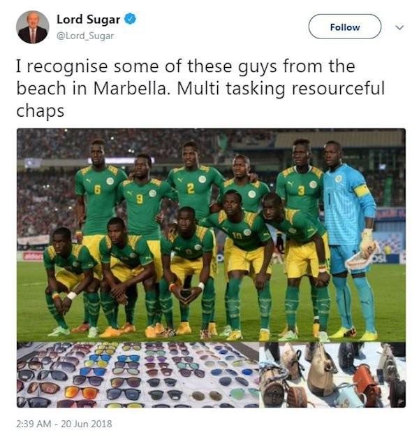 O post racista do empresário inglês e astro de reality show da TV britânica Alan Sugar (Foto: Twitter)
