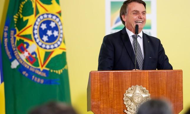 """O presidente Jair Bolsonaro no lançamento da """"Semana do Brasil"""""""