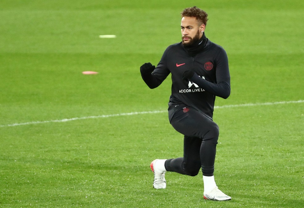 Neymar, em treino do PSG no Santiago Bernabéu: atacante não joga na Liga dos Campeões desde dezembro de 2018 — Foto: Sergio Perez/Reuters