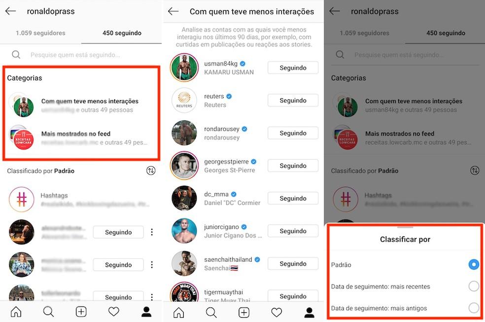 É possível ver os contatos com maior e menor interação no Instagram. — Foto: Reprodução