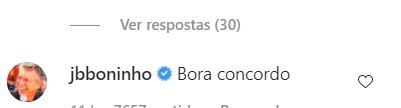 Comentário de Boninho na postagem de Rafael Portugal (Foto: Reprodução/ Instagram)