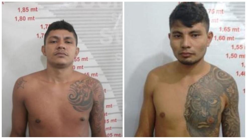 Dhermerson Bezerra e José Relilson já têm passagens por assalto, sendo que um está em liberdade condicional e o outro em prisão domiciliar — Foto: Polícia Civil/Divulgação