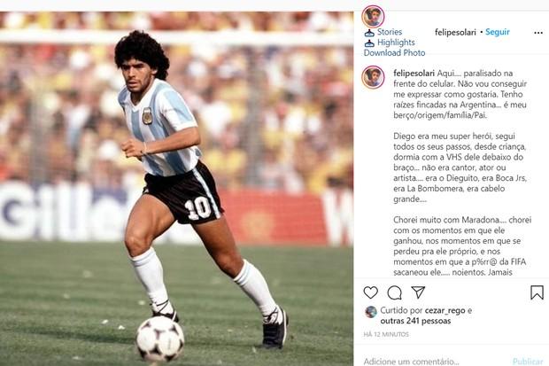 Felipe Solari lamenta morte de Maradona (Foto: Reprodução/ Instagram)