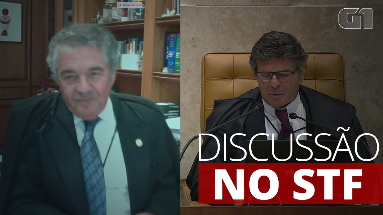 Ministro Marco Aurélio Mello e Luiz Fux, presidente do STF, discutem durante julgamento