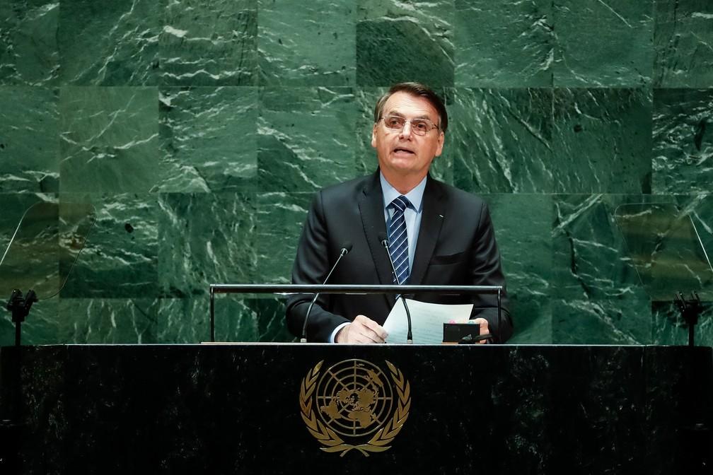 O presidente Jair Bolsonaro durante discurso na Assembleia Geral da ONU, nesta terça-feira (24). — Foto: Alan Santos/Presidência da República