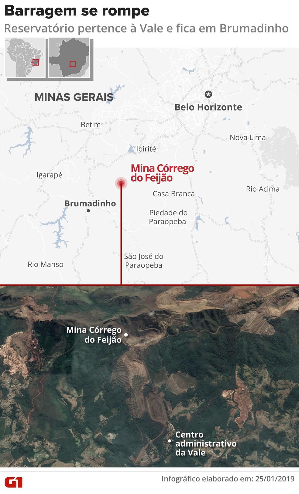 Arte - rompimento de barragem da Vale em Brumadinho — Foto: Igor Estrella/G1