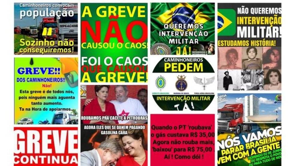 Algumas das imagens que mais circularam em grupos de WhatsApp sobre a greve de caminhoneiros (Foto: Reprodução Projeto Eleições Sem Fake e grupos de WhatsApp)