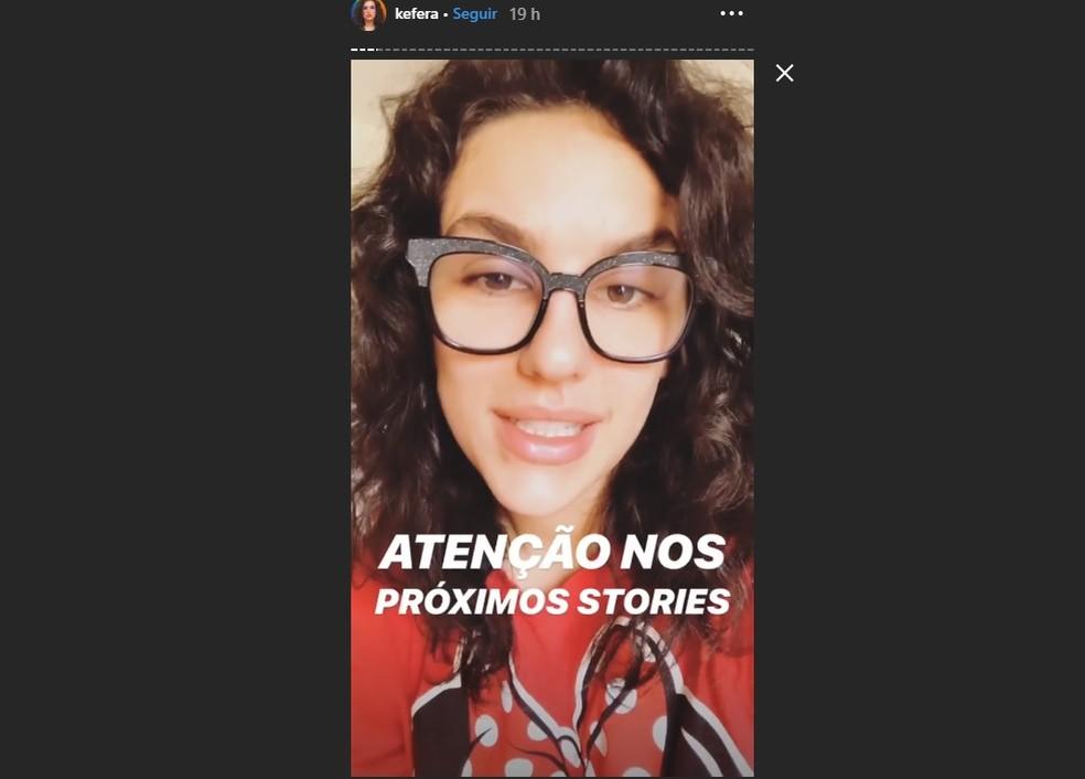Atriz Kéfera Buchmann fez posts para contar história de Eva — Foto: Reprodução/Instagram
