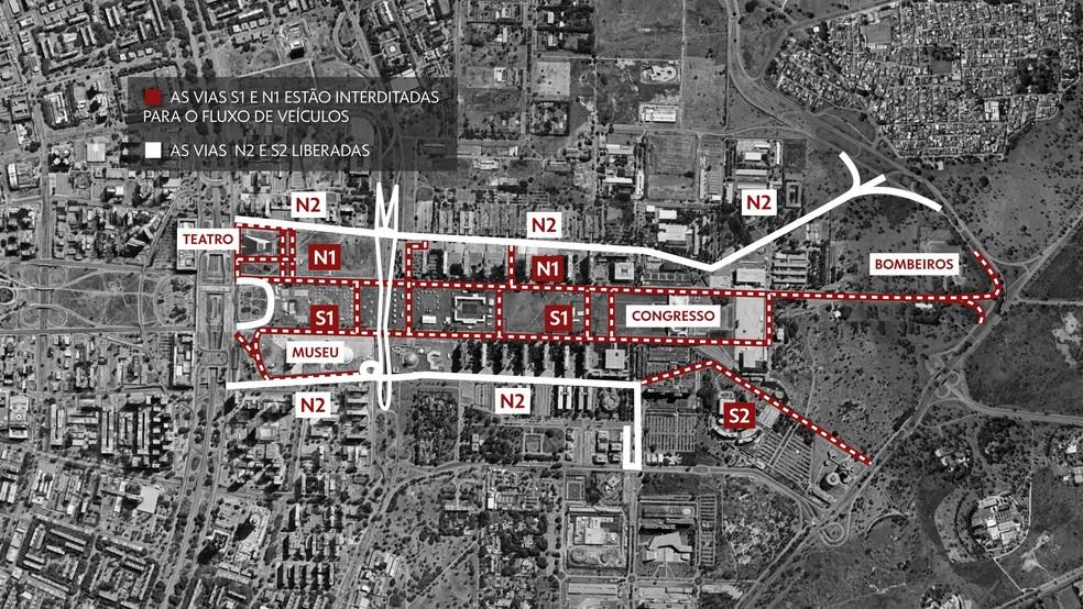 Veja mapa de bloqueio das vias na Esplanada dos Ministérios, nesta segunda (6) e terça-feira (7), em Brasília — Foto: Arte/TV Globo