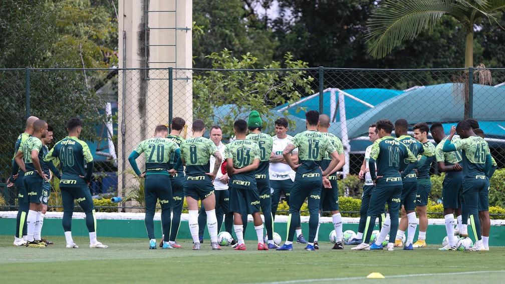 Elenco do Palmeiras durante treinamento na Academia — Foto: Cesar Greco / Ag. Palmeiras
