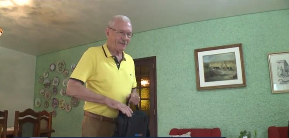 Ivo Klug é o mais velho calouro da UFSC 2019 — Foto: NSC TV/Reprodução