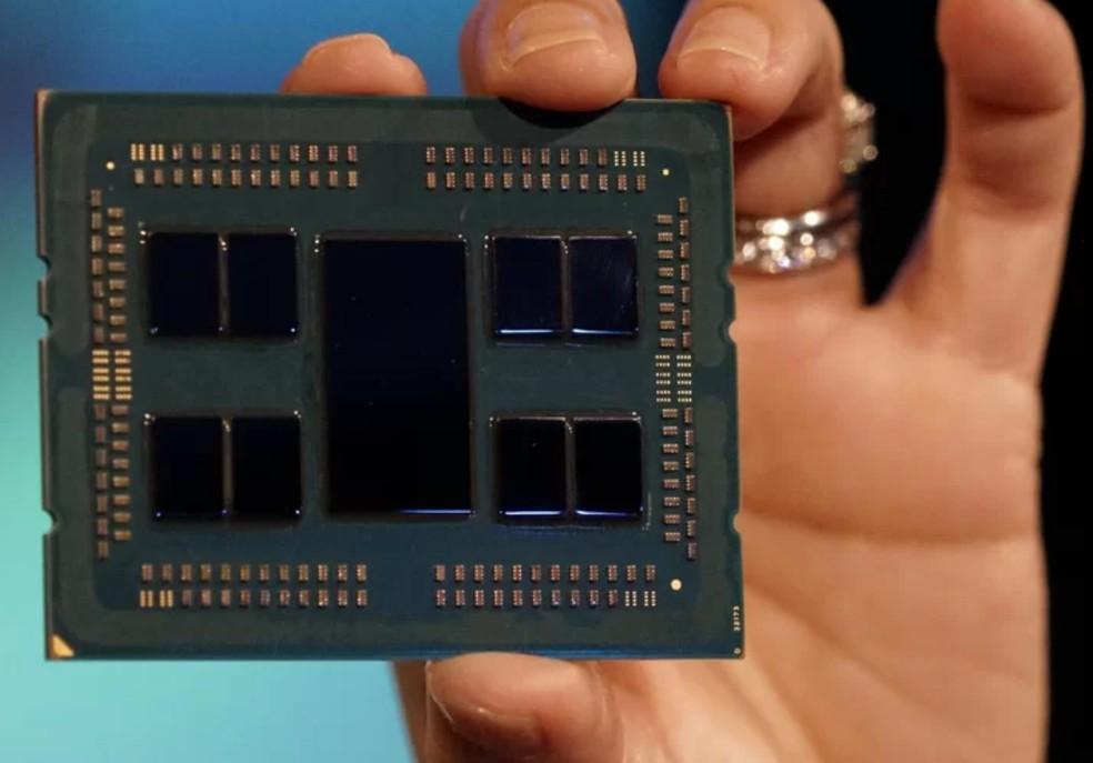 Processadores Epyc devem estrear o design com chiplets da AMD — Foto: Divulgação/AMD