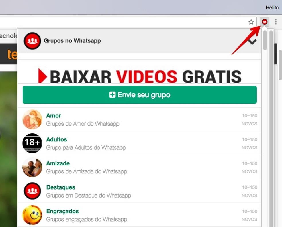 Visualizando temas disponíveis no Grupos para WhatsApp (Foto: Reprodução/Helito Bijora)