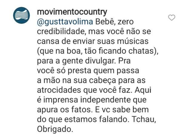 Perfil rebate comentário de Gusttavo Lima (Foto: Reprodução/Instagram)