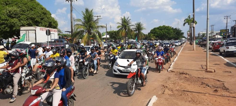 Ariquemes (RO): Manifestantes percorreram ruas em apoio a Bolsonaro no 7 de Setembro — Foto: Lussandro Regino/Rede Amazônica