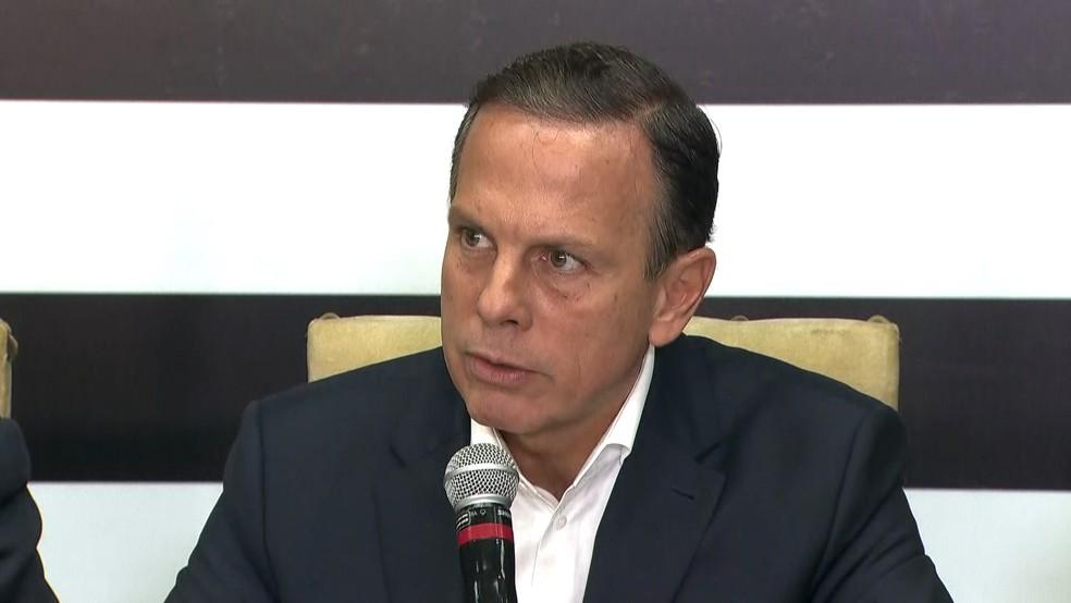 O governador de São paulo, João Doria, durante coletiva de imprensa nesta sexta-feira (11) — Foto: Reprodução/TV Globo