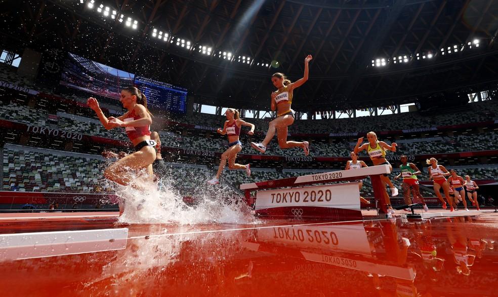 Eliminatória dos 3.000m com obstáculos não foi boa para as brasileiras — Foto: Kai Pfaffenbach/Reuters