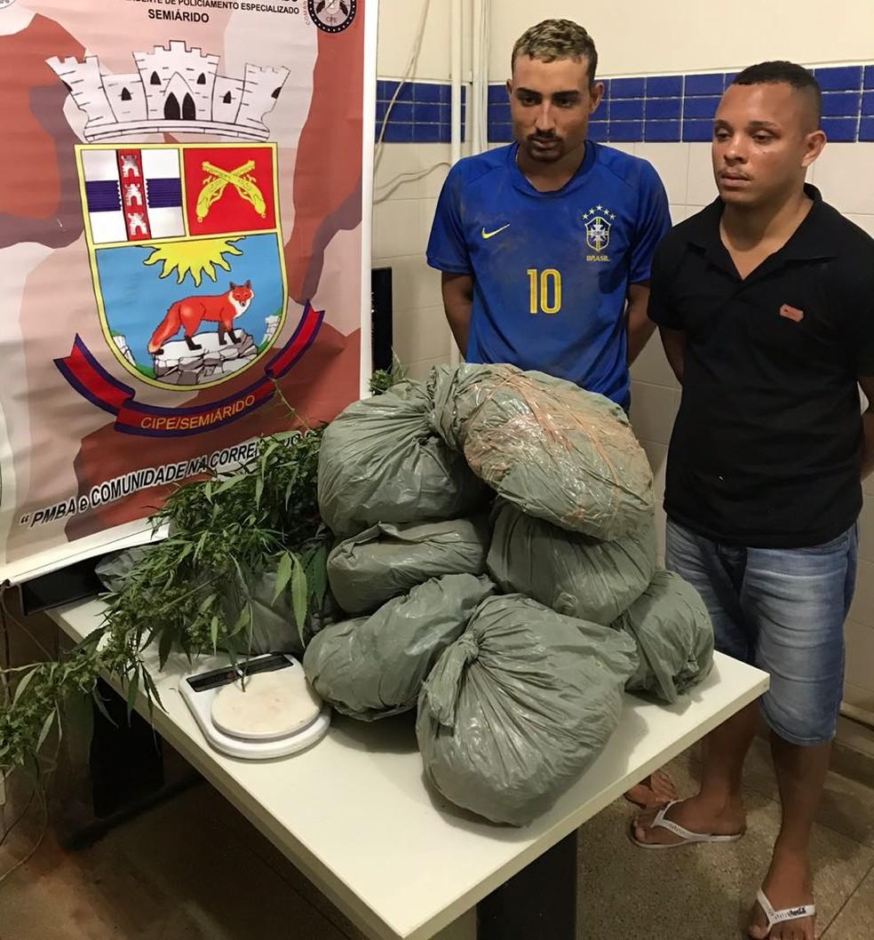 Onze quilos de maconha foram encontrados enterrados no quintal de uma casa, em Irecê. Dois foram presos (Foto: SSP-BA/ Divulgação)
