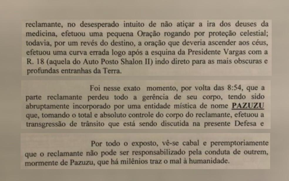 Motorista alega que cometeu infração de trânsito por estar possuído por entidade mística — Foto: Reprodução/TV Anhanguera
