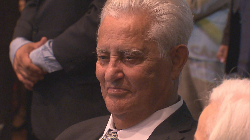 O ex-governador Joaquim Roriz durante homenagem em 2015 — Foto: TV Globo/Reprodução