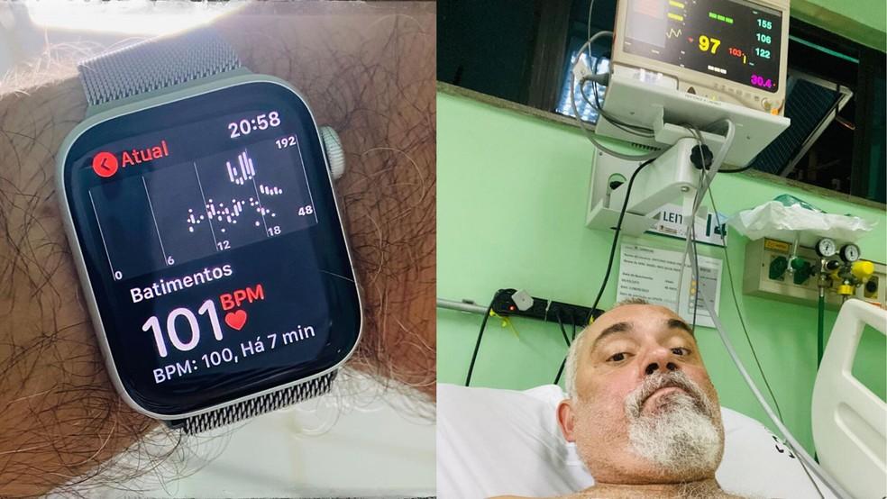Jorge Freire registrou seus batimentos cardíacos após receber cuidados médicos — Foto: Reprodução