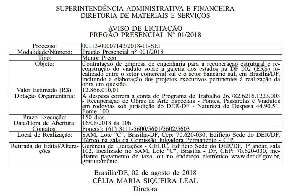 Trecho do aviso de licitação para reforma do Eixão (Foto: Reprodução)