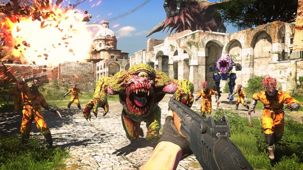 Serious Sam 4 promete trazer os combates frenéticos da franquia de tiro com uma escala ainda maior — Foto: Reprodução/Steam
