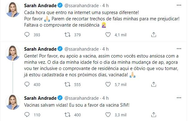 Sarah Andrade fala sobre vacina (Foto: Reprodução/Twitter)