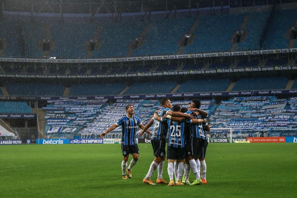 Grêmio comemora gol no Gre-Nal — Foto: Lucas Uebel/Grêmio