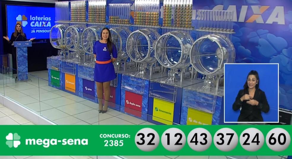 Números sorteados no concurso 2.385 da Mega-Sena — Foto: Reprodução/Caixa