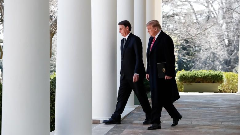 O presidente da República Jair Bolsonaro e o presidente dos Estados Unidos, Donald Trump  (Foto:  Alan Santos/ PR)