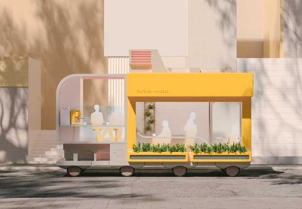 Um café sobre rodas? Essa é uma das possibilidades que o Space 10 projeta (Foto: Space 10)