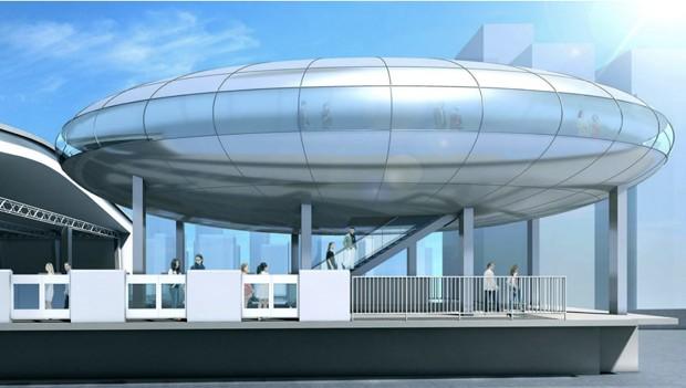 """Projeto para estação de metrô em Osaka tem prédio em formato de """"disco voador"""""""