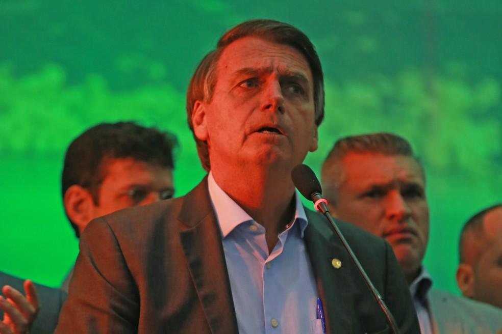 O candidato do PSL à Presidência, Jair Bolsonaro, durante a convenção do partido — Foto: Ian Cheibub/Agif/Estadão Conteúdo